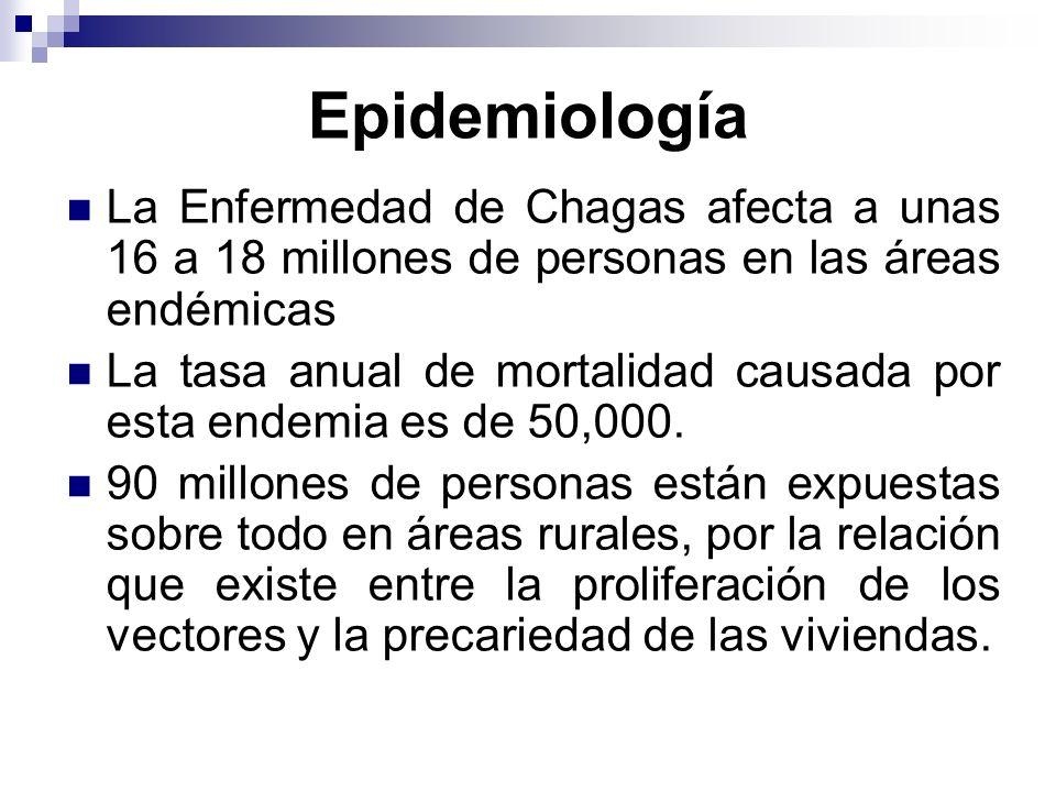 Epidemiología La Enfermedad de Chagas afecta a unas 16 a 18 millones de personas en las áreas endémicas La tasa anual de mortalidad causada por esta e