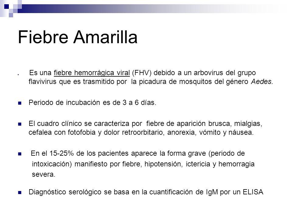 Fiebre Amarilla Es una fiebre hemorrágica viral (FHV) debido a un arbovirus del grupo flavivirus que es trasmitido por la picadura de mosquitos del gé