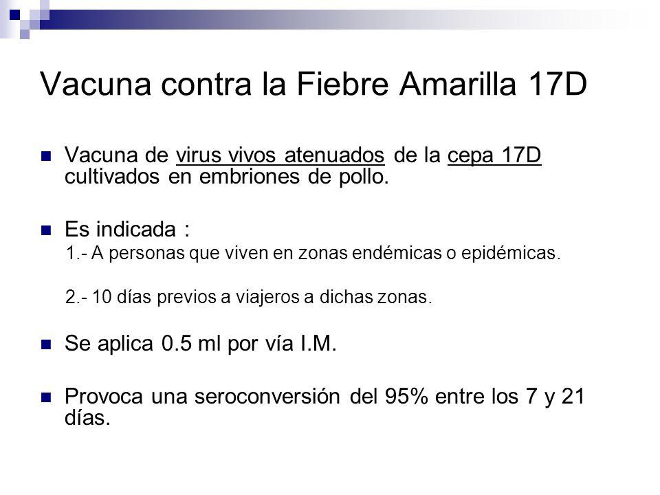 Vacuna contra la Fiebre Amarilla 17D Vacuna de virus vivos atenuados de la cepa 17D cultivados en embriones de pollo. Es indicada : 1.- A personas que