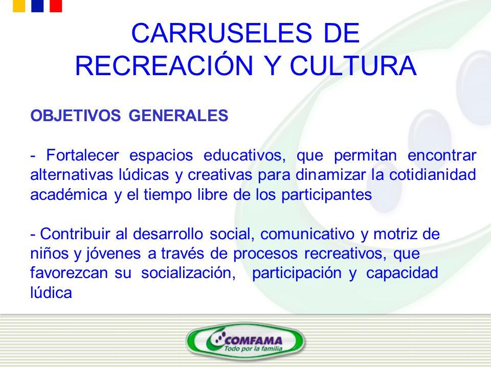 CARRUSELES DE RECREACIÓN Y CULTURA OBJETIVOS GENERALES - Fortalecer espacios educativos, que permitan encontrar alternativas lúdicas y creativas para