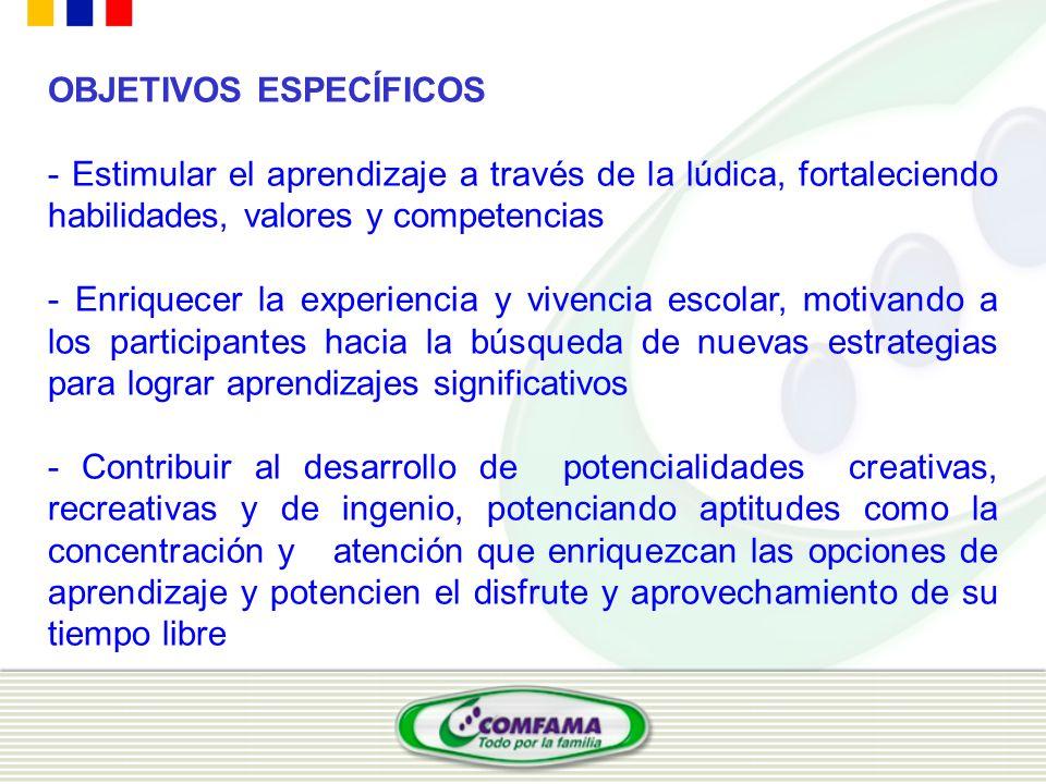 OBJETIVOS ESPECÍFICOS - Estimular el aprendizaje a través de la lúdica, fortaleciendo habilidades, valores y competencias - Enriquecer la experiencia
