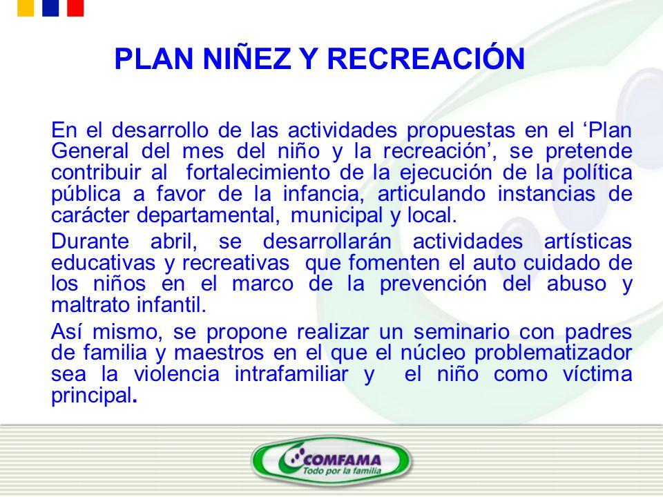 PLAN NIÑEZ Y RECREACIÓN En el desarrollo de las actividades propuestas en el Plan General del mes del niño y la recreación, se pretende contribuir al