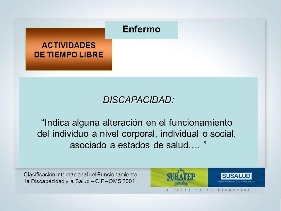 DISCAPACIDAD: Indica alguna alteración en el funcionamiento del individuo a nivel corporal, individual o social, asociado a estados de salud….