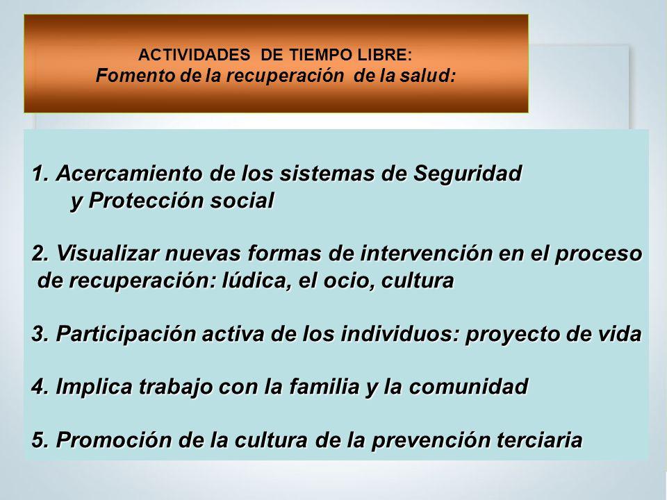 1.Acercamiento de los sistemas de Seguridad y Protección social y Protección social 2.Visualizar nuevas formas de intervención en el proceso de recuperación: lúdica, el ocio, cultura de recuperación: lúdica, el ocio, cultura 3.Participación activa de los individuos: proyecto de vida 4.Implica trabajo con la familia y la comunidad 5.Promoción de la cultura de la prevención terciaria ACTIVIDADES DE TIEMPO LIBRE: Fomento de la recuperación de la salud: