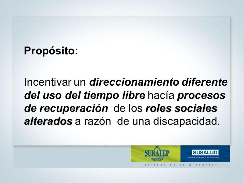 Propósito: roles sociales alterados Incentivar un direccionamiento diferente del uso del tiempo libre hacía procesos de recuperación de los roles sociales alterados a razón de una discapacidad.