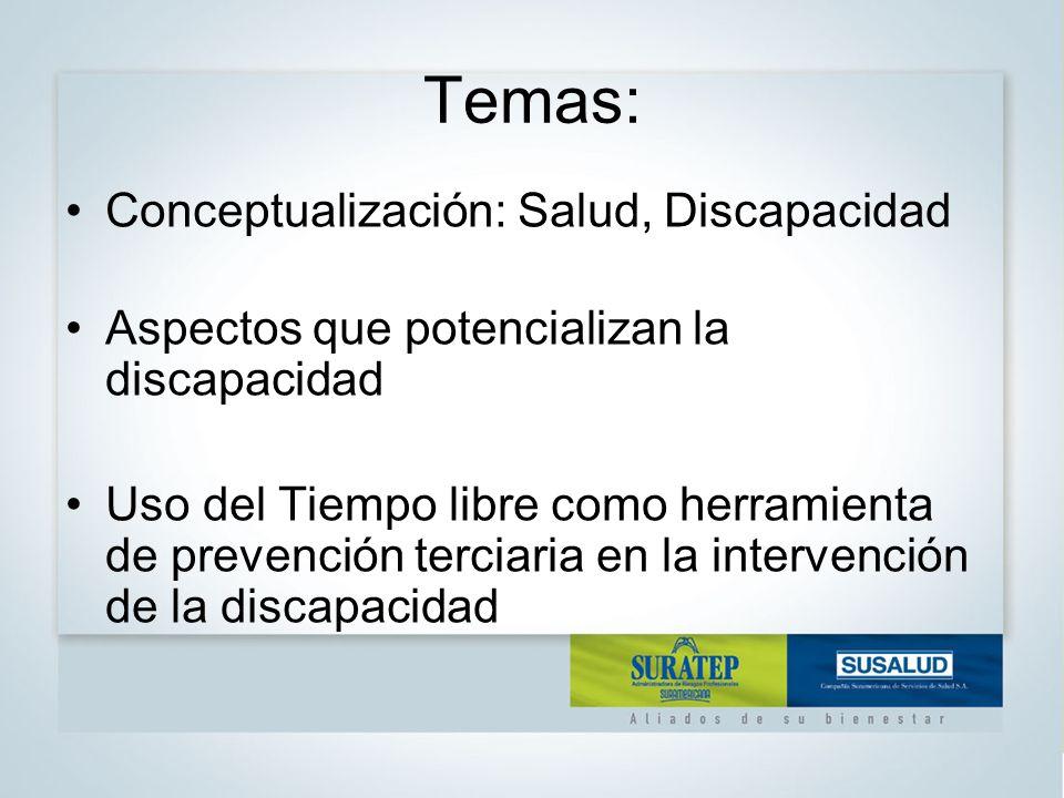 Temas: Conceptualización: Salud, Discapacidad Aspectos que potencializan la discapacidad Uso del Tiempo libre como herramienta de prevención terciaria en la intervención de la discapacidad