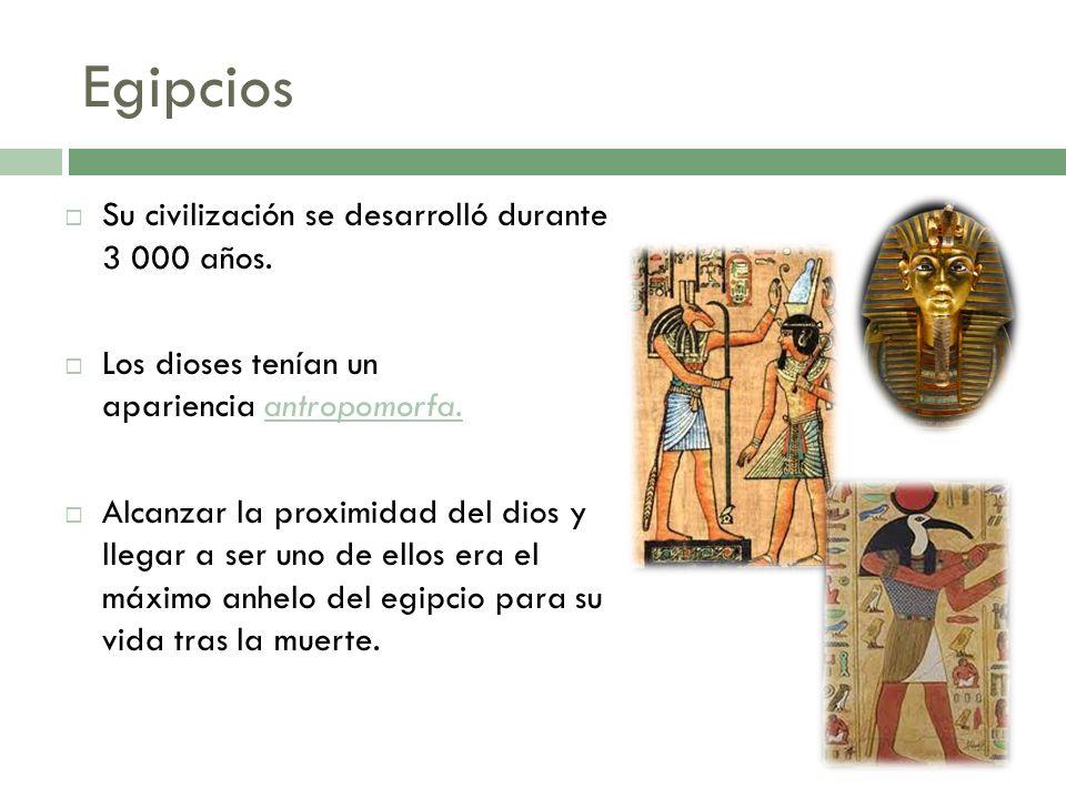 Su civilización se desarrolló durante 3 000 años. Los dioses tenían un apariencia antropomorfa. Alcanzar la proximidad del dios y llegar a ser uno de