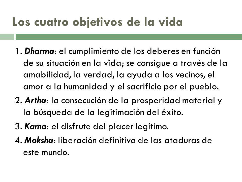 Los cuatro objetivos de la vida 1. Dharma: el cumplimiento de los deberes en función de su situación en la vida; se consigue a través de la amabilidad