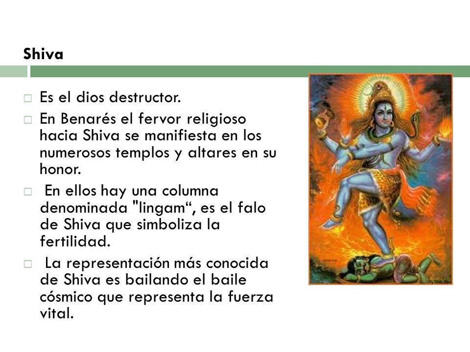 Shiva Es el dios destructor. En Benarés el fervor religioso hacia Shiva se manifiesta en los numerosos templos y altares en su honor. En ellos hay una