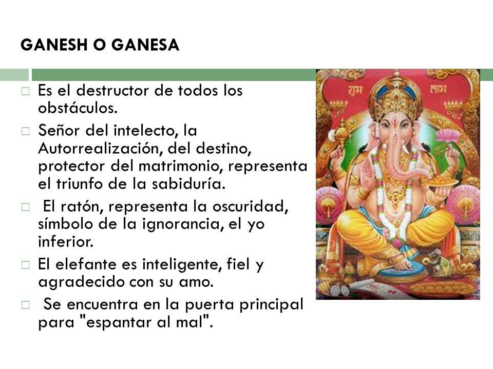 GANESH O GANESA Es el destructor de todos los obstáculos. Señor del intelecto, la Autorrealización, del destino, protector del matrimonio, representa