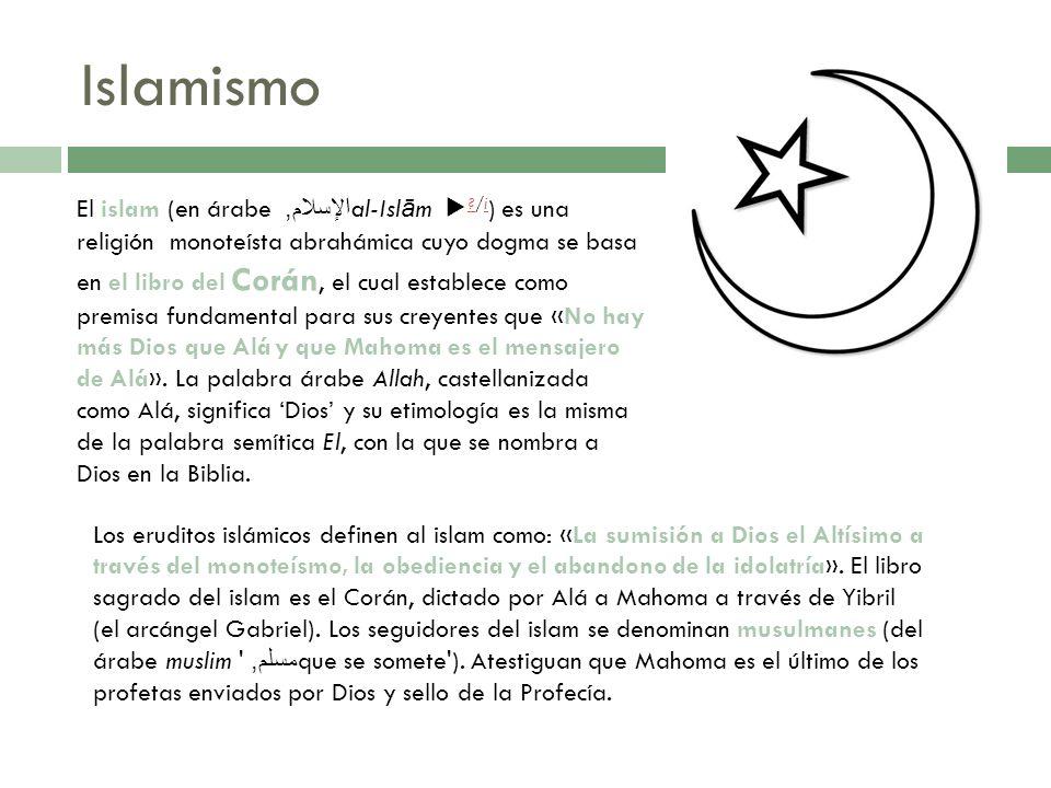 Islamismo Los eruditos islámicos definen al islam como: «La sumisión a Dios el Altísimo a través del monoteísmo, la obediencia y el abandono de la ido