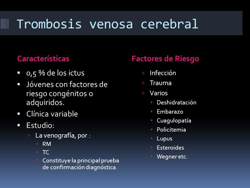 Trombosis venosa cerebral CaracterísticasFactores de Riesgo 0,5 % de los ictus Jóvenes con factores de riesgo congénitos o adquiridos. Clínica variabl