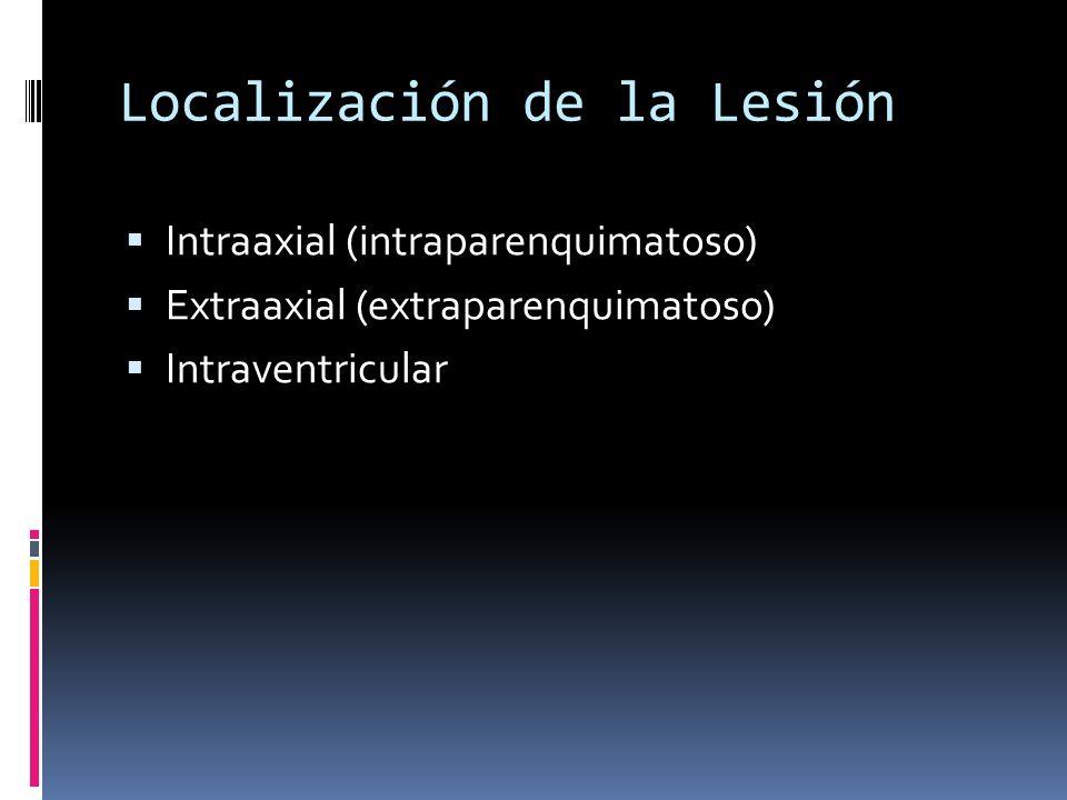 Localización de la Lesión Intraaxial (intraparenquimatoso) Extraaxial (extraparenquimatoso) Intraventricular