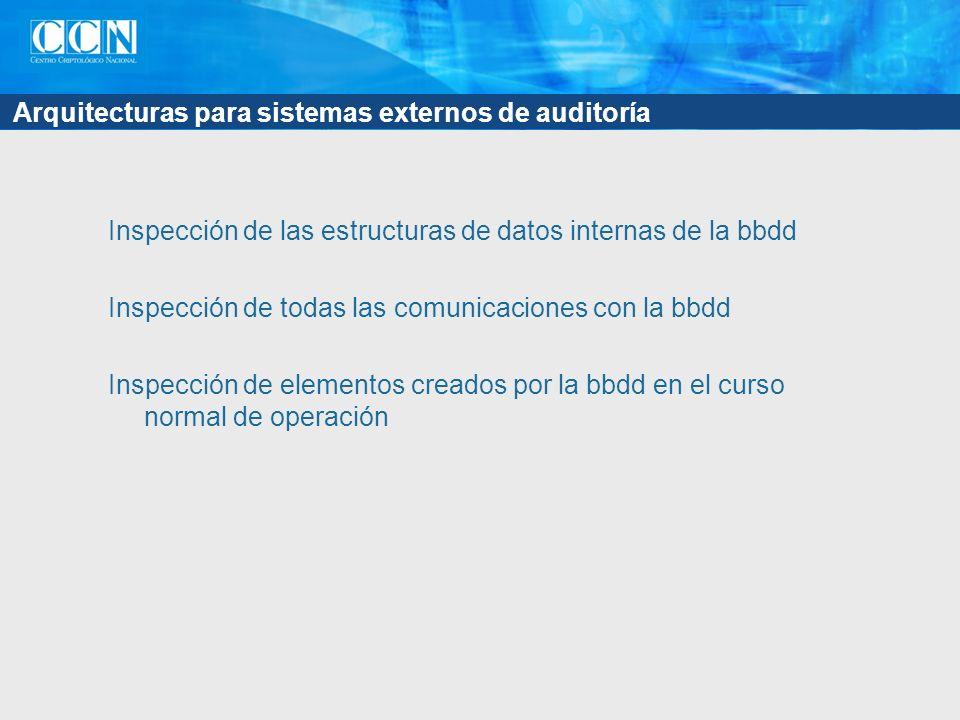 Arquitecturas para sistemas externos de auditoría Inspección de las estructuras de datos internas de la bbdd Inspección de todas las comunicaciones con la bbdd Inspección de elementos creados por la bbdd en el curso normal de operación
