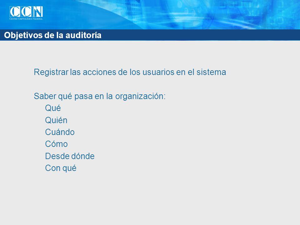 Objetivos de la auditoría Registrar las acciones de los usuarios en el sistema Saber qué pasa en la organización: Qué Quién Cuándo Cómo Desde dónde Con qué