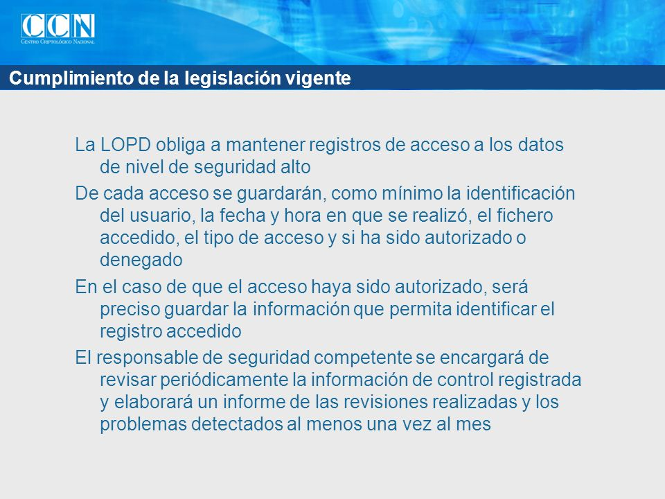 Sentencias SELECT sobre datos privados Para asegurar la confidencialidad de los datos Registrar: De dónde procede la consulta (dirección IP, aplicación) Quién seleccionó los datos (nombre de usuario) Qué datos fueron seleccionados Resulta impráctico para toda la bbdd: hay que centrarse en los datos sensibles Creación de conjuntos de privacidad