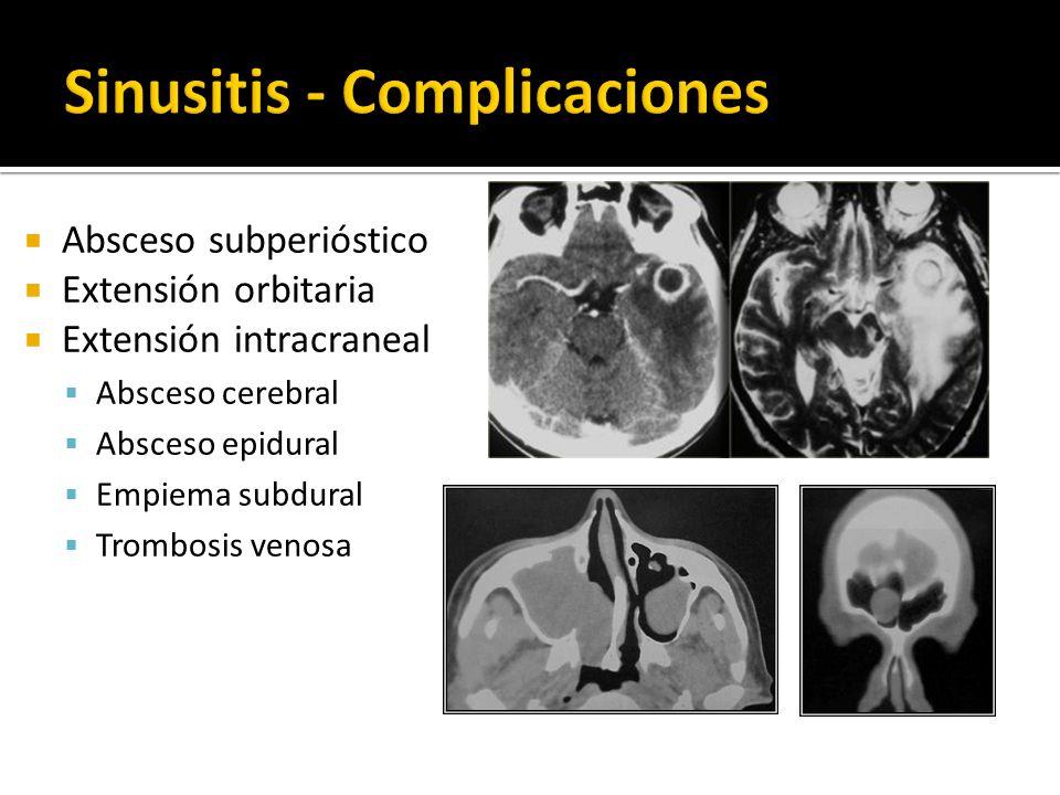 Absceso subperióstico Extensión orbitaria Extensión intracraneal Absceso cerebral Absceso epidural Empiema subdural Trombosis venosa