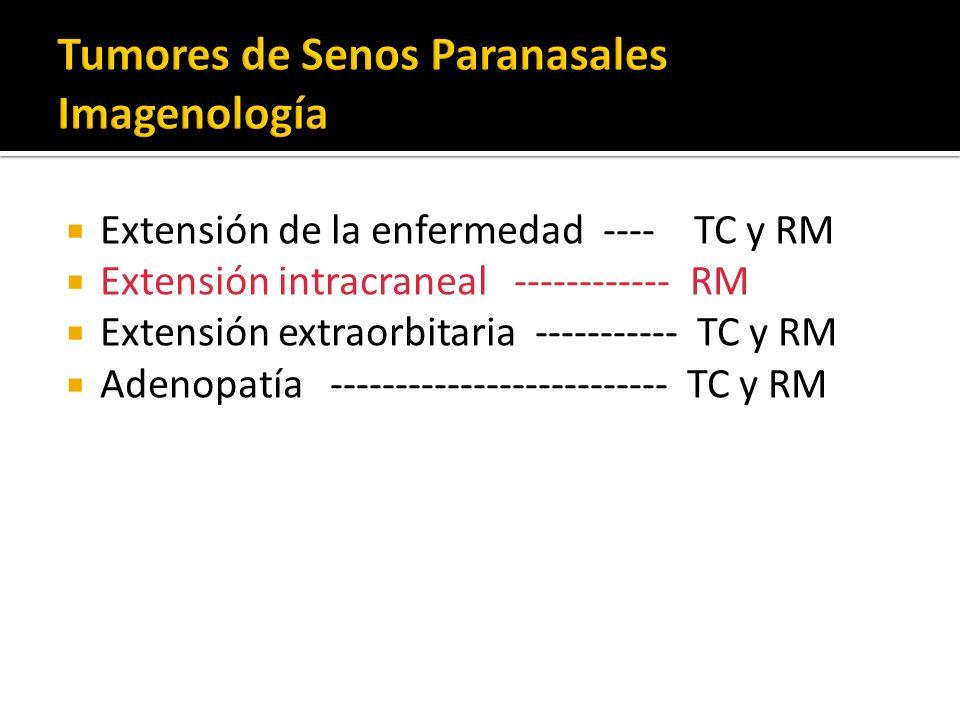 Extensión de la enfermedad ---- TC y RM Extensión intracraneal ------------ RM Extensión extraorbitaria ----------- TC y RM Adenopatía ---------------