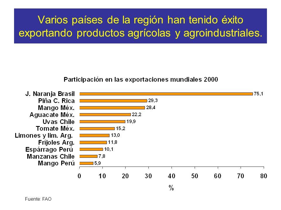 Varios países de la región han tenido éxito exportando productos agrícolas y agroindustriales. Fuente: FAO