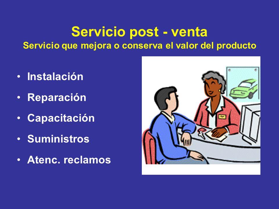 Servicio post - venta Servicio que mejora o conserva el valor del producto Instalación Reparación Capacitación Suministros Atenc. reclamos