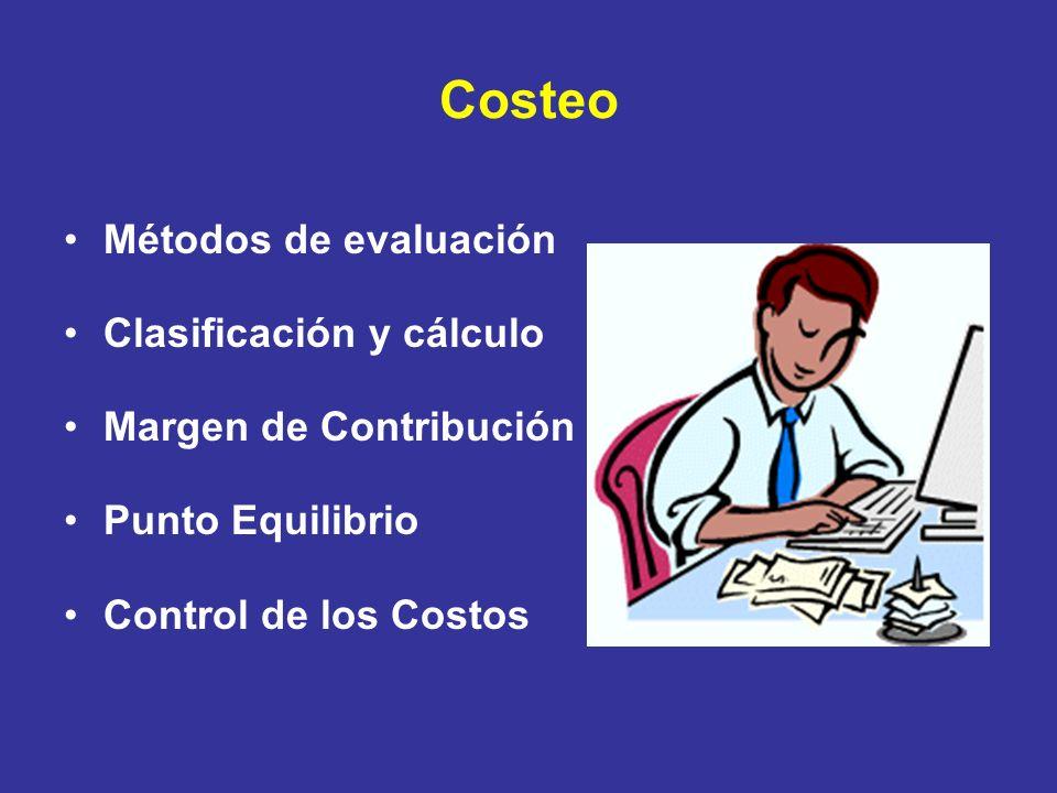 Costeo Métodos de evaluación Clasificación y cálculo Margen de Contribución Punto Equilibrio Control de los Costos
