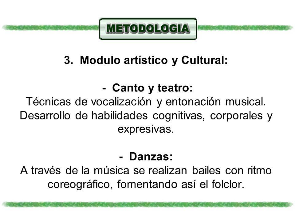3. Modulo artístico y Cultural: - Canto y teatro: Técnicas de vocalización y entonación musical. Desarrollo de habilidades cognitivas, corporales y ex