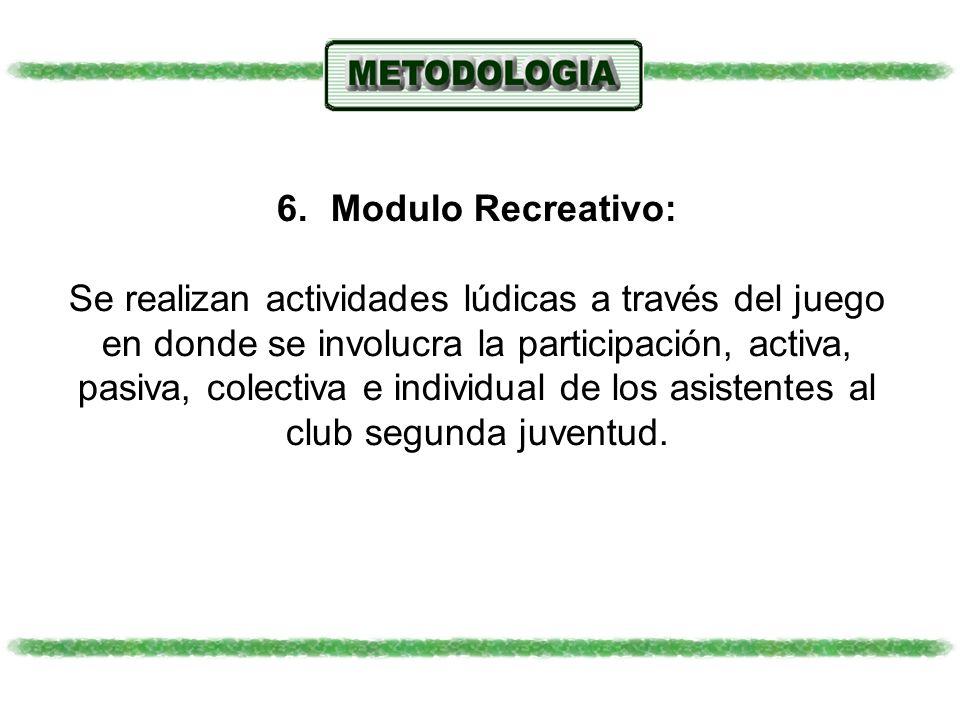 6.Modulo Recreativo: Se realizan actividades lúdicas a través del juego en donde se involucra la participación, activa, pasiva, colectiva e individual