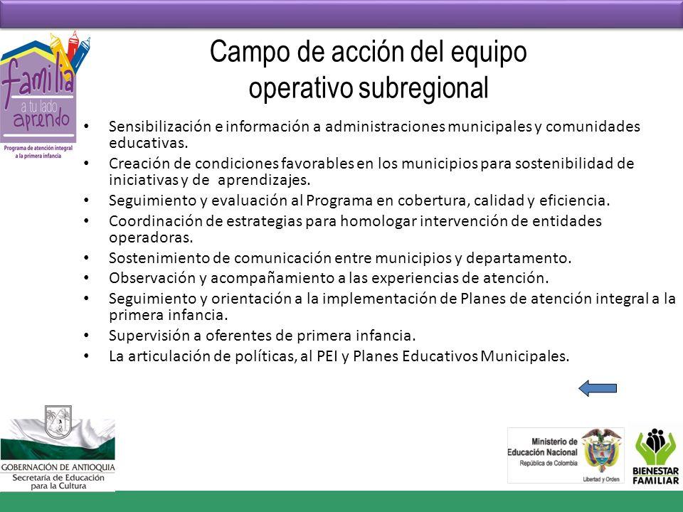 Campo de acción del equipo operativo subregional Sensibilización e información a administraciones municipales y comunidades educativas. Creación de co
