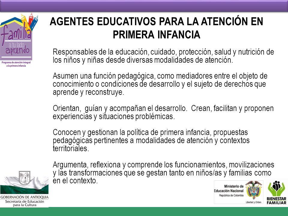 AGENTES EDUCATIVOS PARA LA ATENCIÓN EN PRIMERA INFANCIA Responsables de la educación, cuidado, protección, salud y nutrición de los niños y niñas desd