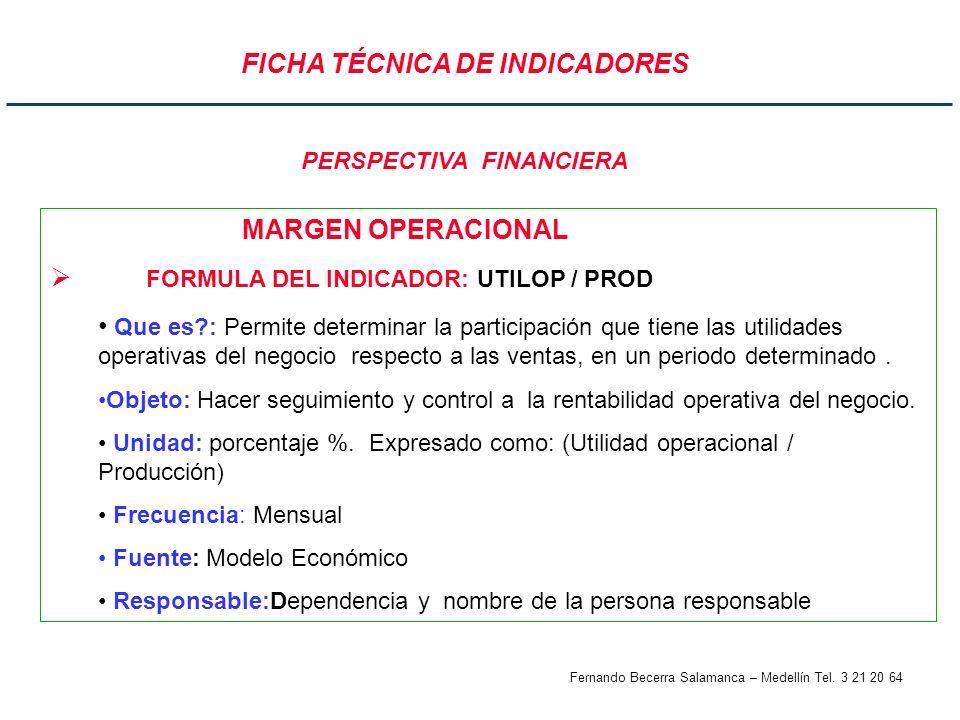 Fernando Becerra Salamanca – Medellín Tel. 3 21 20 64 FICHA TÉCNICA DE INDICADORES MARGEN OPERACIONAL FORMULA DEL INDICADOR: UTILOP / PROD Que es?: Pe