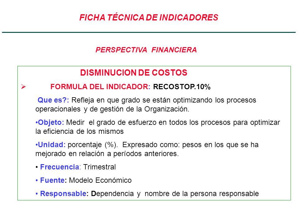 FICHA TÉCNICA DE INDICADORES DISMINUCION DE COSTOS FORMULA DEL INDICADOR: RECOSTOP.10% Que es?: Refleja en que grado se están optimizando los procesos