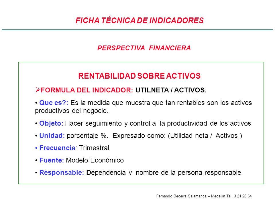 Fernando Becerra Salamanca – Medellín Tel. 3 21 20 64 FICHA TÉCNICA DE INDICADORES RENTABILIDAD SOBRE ACTIVOS FORMULA DEL INDICADOR: UTILNETA / ACTIVO