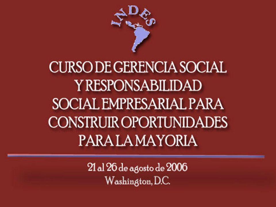 Objetivo del Curso Compartir una visión sobre los desafíos que enfrentan las empresas en Colombia y la responsabilidad que tienen en construir oportunidades de desarrollo y bienestar para la mayoría bajo el marco conceptual de Gerencia Social y Responsabilidad Social Empresarial.