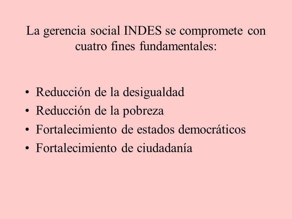 La gerencia social INDES se compromete con cuatro fines fundamentales: Reducción de la desigualdad Reducción de la pobreza Fortalecimiento de estados democráticos Fortalecimiento de ciudadanía