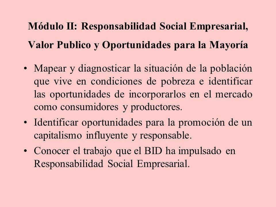 Módulo II: Responsabilidad Social Empresarial, Valor Publico y Oportunidades para la Mayoría Mapear y diagnosticar la situación de la población que vive en condiciones de pobreza e identificar las oportunidades de incorporarlos en el mercado como consumidores y productores.