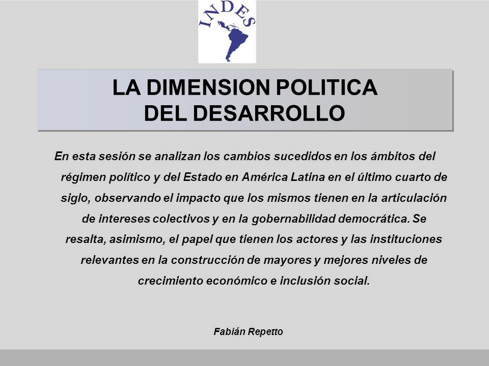 OBJETIVOS DE LA SESION Analizar los cambios institucionales generados en el plano del Estado y del régimen político en América Latina en la reciente etapa histórica.