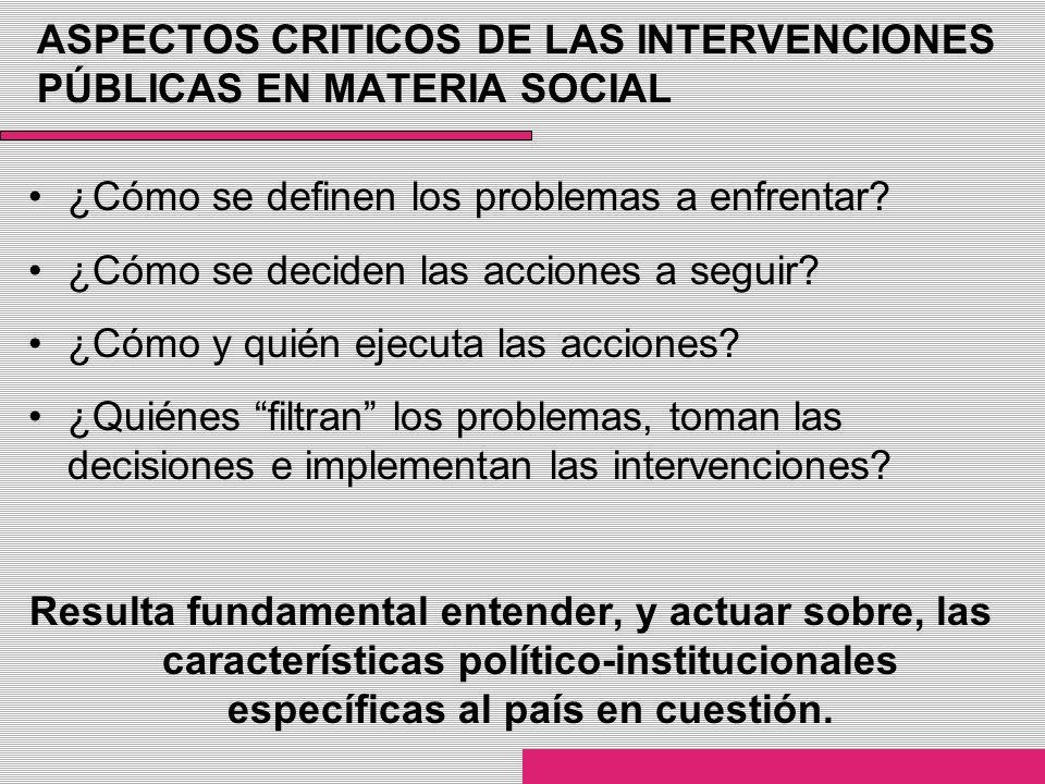 ASPECTOS CRITICOS DE LAS INTERVENCIONES PÚBLICAS EN MATERIA SOCIAL ¿Cómo se definen los problemas a enfrentar? ¿Cómo se deciden las acciones a seguir?