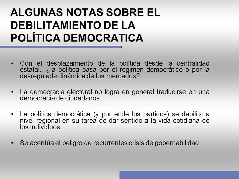 ALGUNAS NOTAS SOBRE EL DEBILITAMIENTO DE LA POLÍTICA DEMOCRATICA Con el desplazamiento de la política desde la centralidad estatal…¿la política pasa p