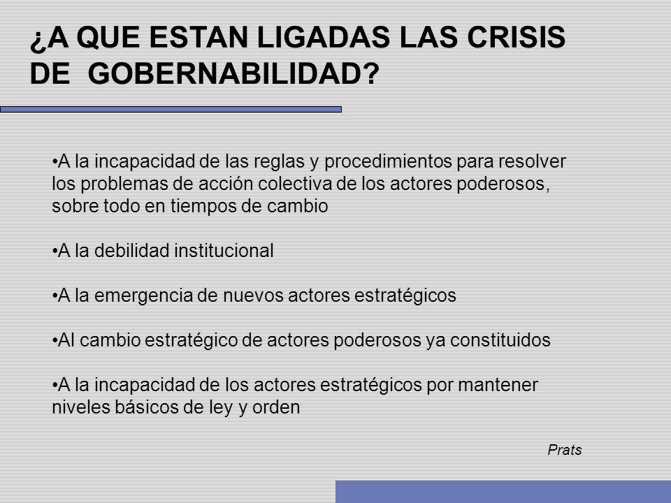 ¿A QUE ESTAN LIGADAS LAS CRISIS DE GOBERNABILIDAD? A la incapacidad de las reglas y procedimientos para resolver los problemas de acción colectiva de