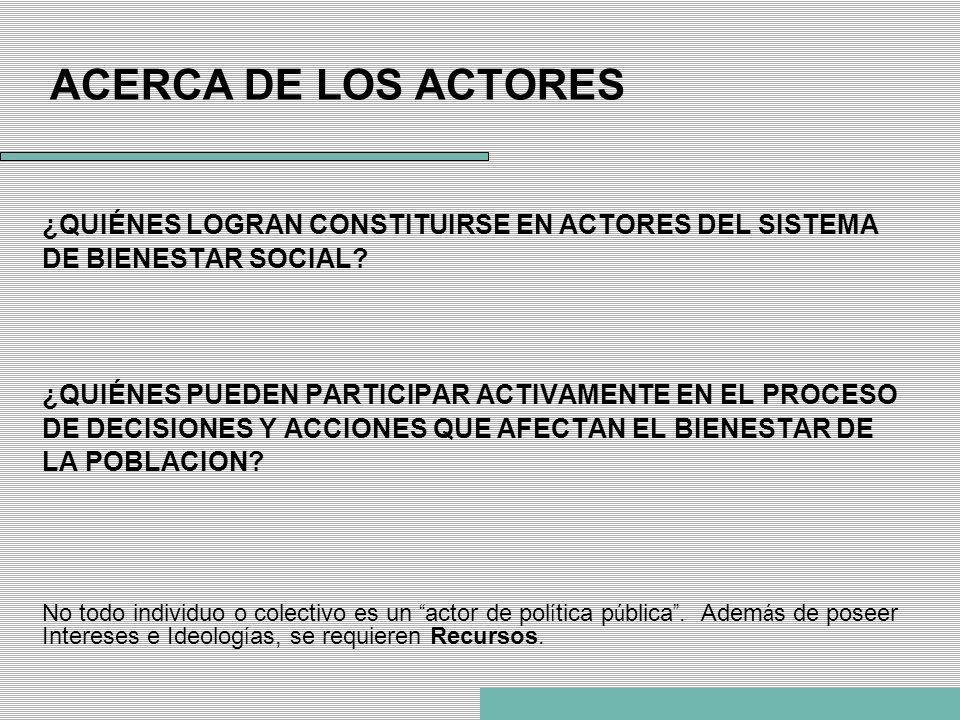 ACERCA DE LOS ACTORES ¿QUIÉNES LOGRAN CONSTITUIRSE EN ACTORES DEL SISTEMA DE BIENESTAR SOCIAL? ¿QUIÉNES PUEDEN PARTICIPAR ACTIVAMENTE EN EL PROCESO DE