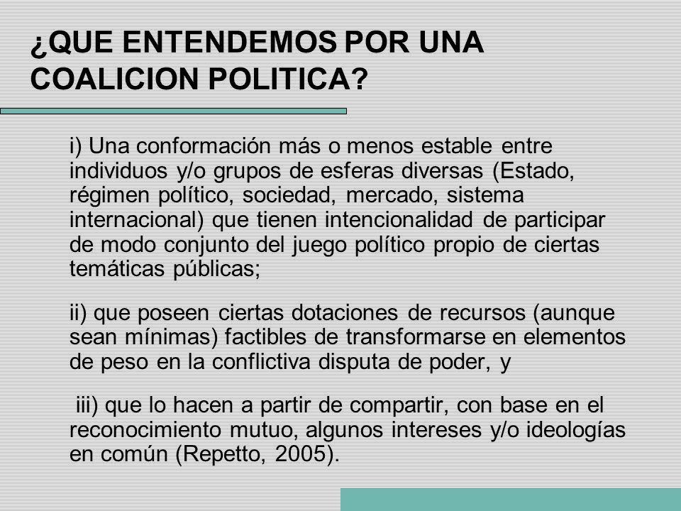 ¿QUE ENTENDEMOS POR UNA COALICION POLITICA? i) Una conformación más o menos estable entre individuos y/o grupos de esferas diversas (Estado, régimen p