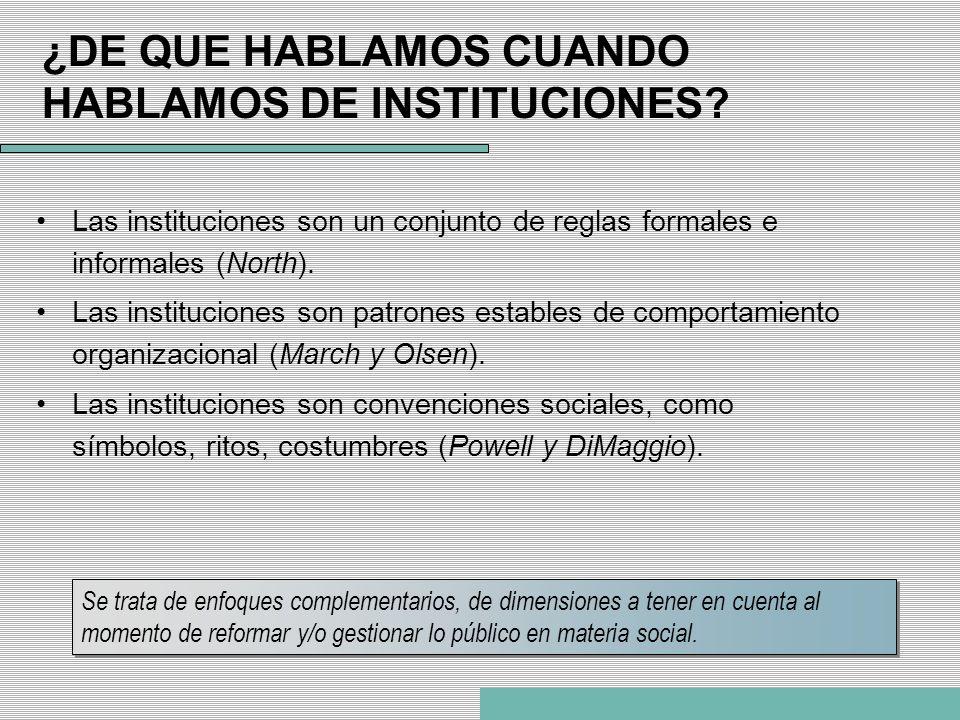 ¿DE QUE HABLAMOS CUANDO HABLAMOS DE INSTITUCIONES? Las instituciones son un conjunto de reglas formales e informales (North). Las instituciones son pa