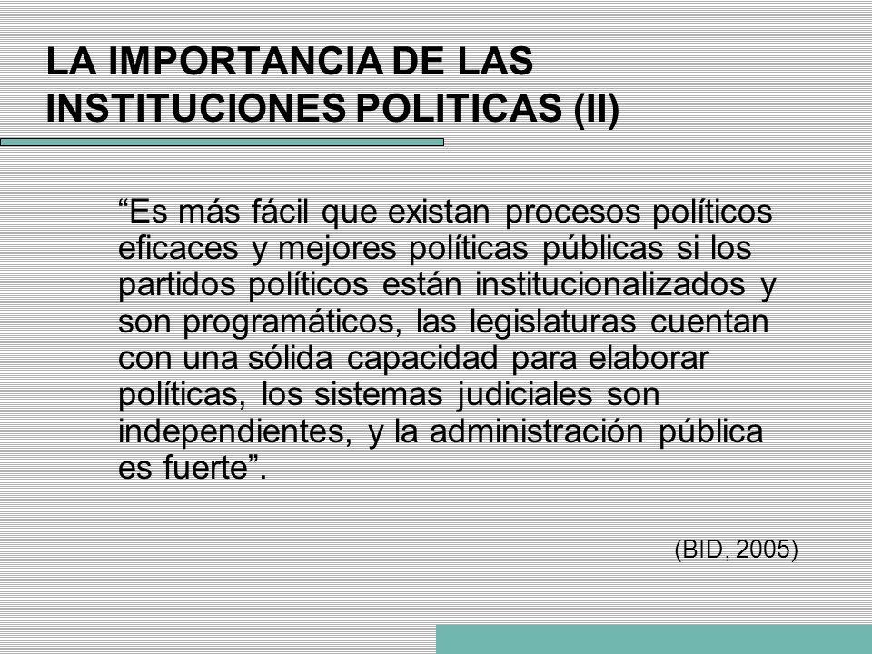 LA IMPORTANCIA DE LAS INSTITUCIONES POLITICAS (II) Es más fácil que existan procesos políticos eficaces y mejores políticas públicas si los partidos p