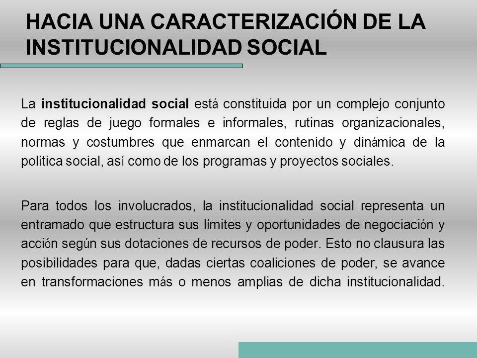 La institucionalidad social est á constituida por un complejo conjunto de reglas de juego formales e informales, rutinas organizacionales, normas y co