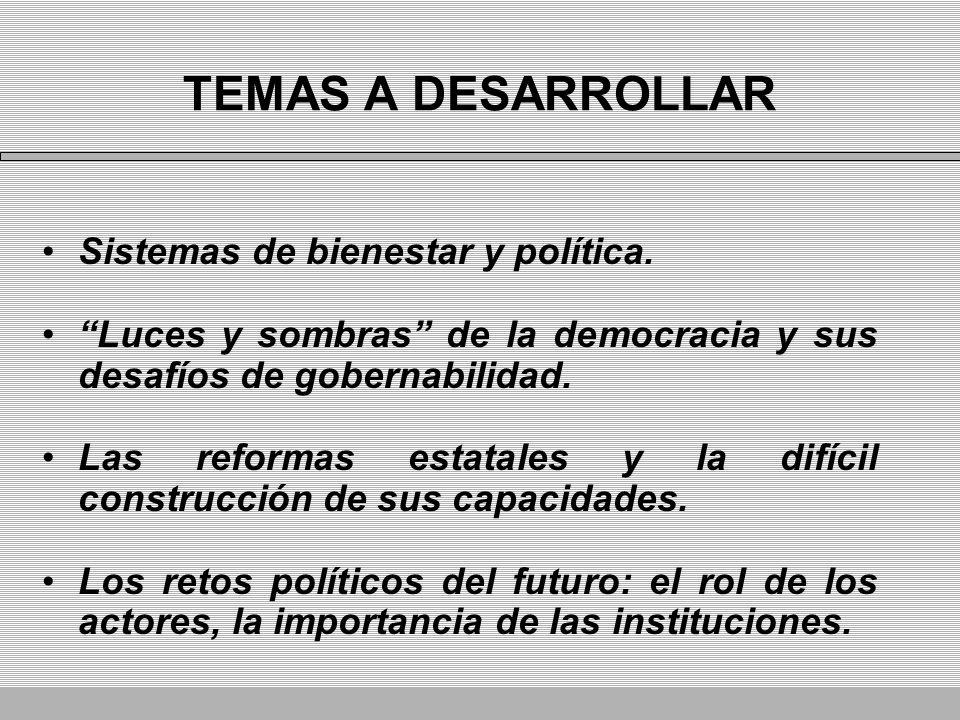 TEMAS A DESARROLLAR Sistemas de bienestar y política. Luces y sombras de la democracia y sus desafíos de gobernabilidad. Las reformas estatales y la d