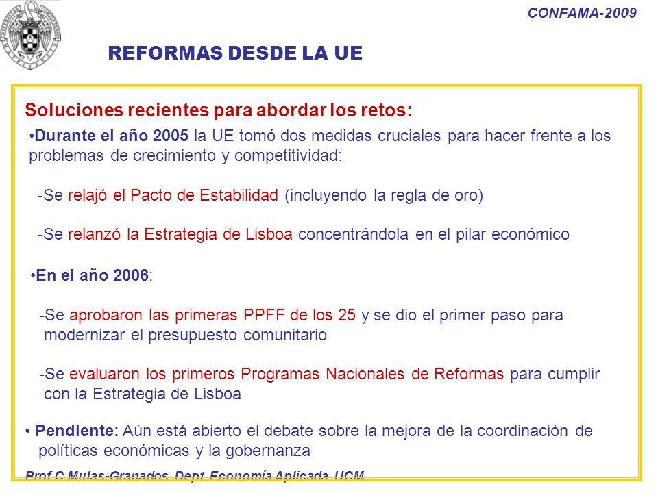 Prof.C.Mulas-Granados. Dept. Economía Aplicada. UCM CONFAMA-2009 Durante el año 2005 la UE tomó dos medidas cruciales para hacer frente a los problema