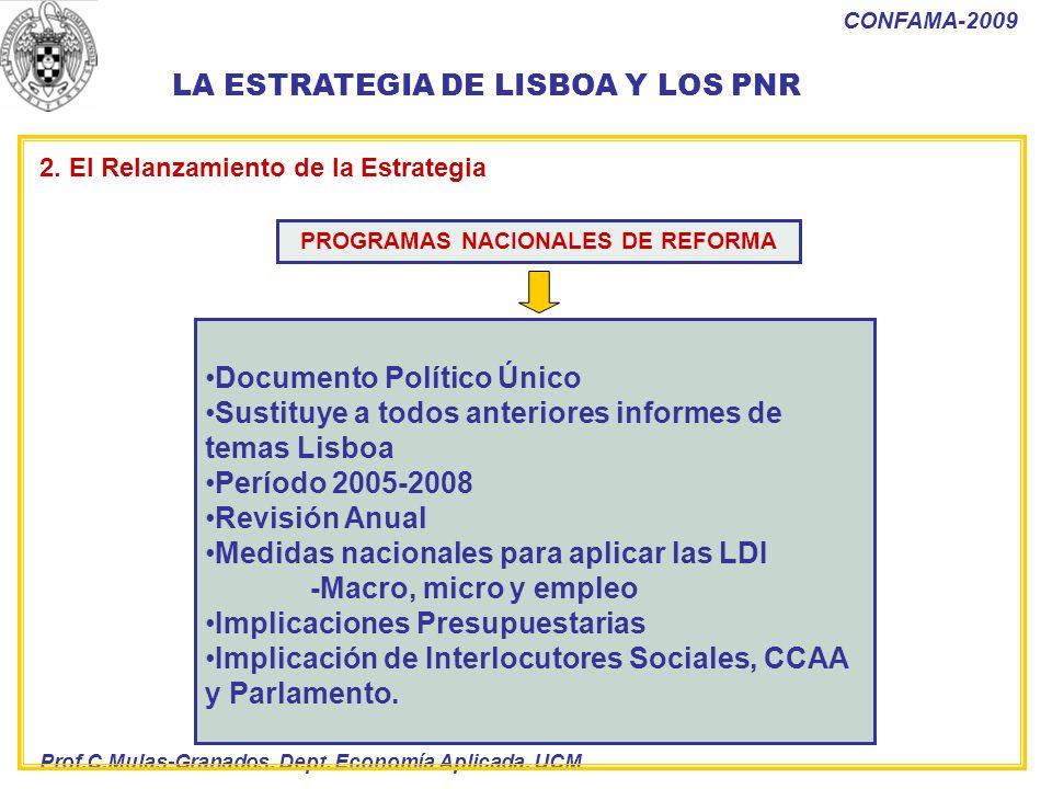 Prof.C.Mulas-Granados. Dept. Economía Aplicada. UCM CONFAMA-2009 Documento Político Único Sustituye a todos anteriores informes de temas Lisboa Períod