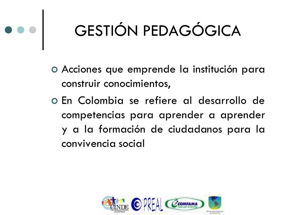 GESTIÓN PEDAGÓGICA Acciones que emprende la institución para construir conocimientos, En Colombia se refiere al desarrollo de competencias para aprend