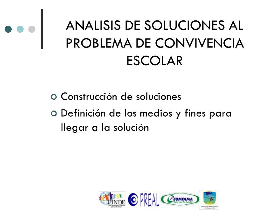 ANALISIS DE SOLUCIONES AL PROBLEMA DE CONVIVENCIA ESCOLAR Construcción de soluciones Definición de los medios y fines para llegar a la solución