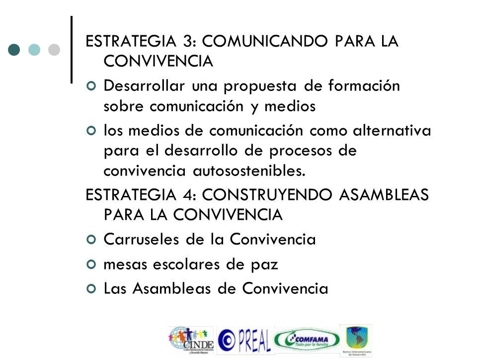 ESTRATEGIA 3: COMUNICANDO PARA LA CONVIVENCIA Desarrollar una propuesta de formación sobre comunicación y medios los medios de comunicación como alter